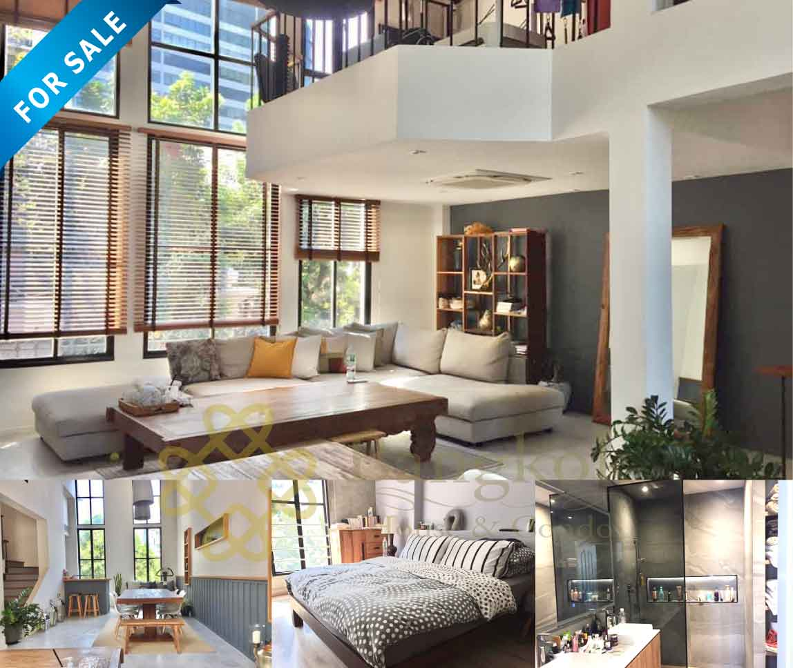 Bangkok House Apartment Renovated For Sale in Thonglor Sukhumvit Aesthetic Designed Home Loft Style Home