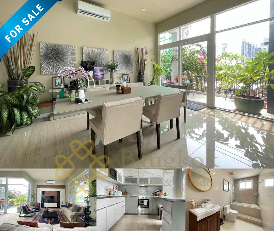 Bangkok House Apartment For Sale in Ekkamai Sukhumvit Lovely Modern House with Private Pool and Elevator Conner Unit