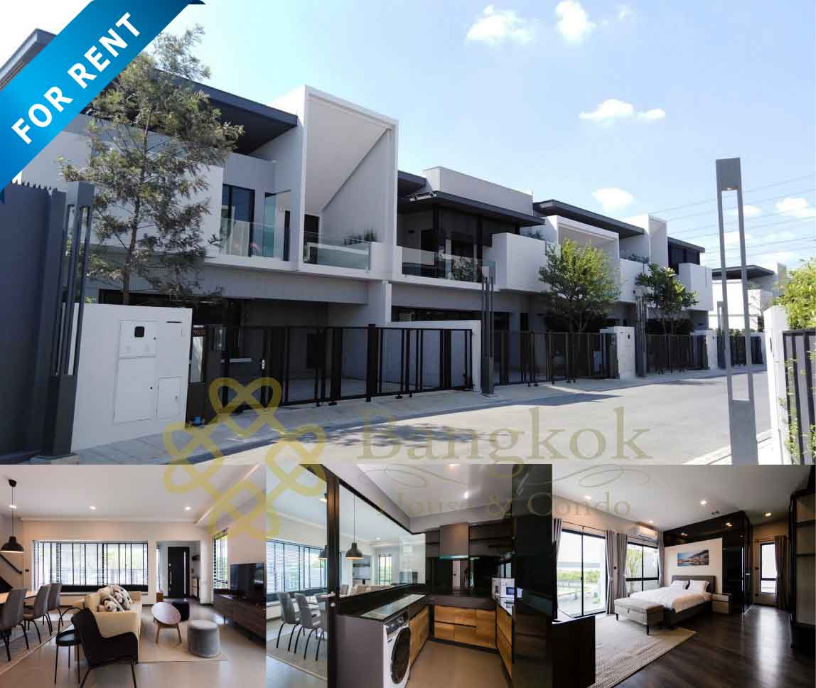 Bangkok Property Condo Apartment House Real Estate For Rent in Bangna Ultra Modern Townhome